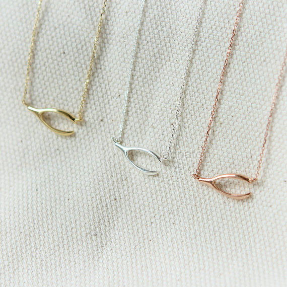 Sideways Wishbone Necklace in 925 sterling silver