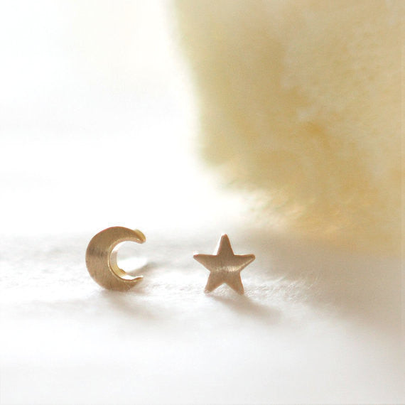 Crescent moon and tiny star Earrings