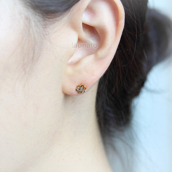 CZ Beehive Earrings in 925 sterling silver