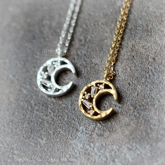 Tapered Baguette CZ Moon Necklace