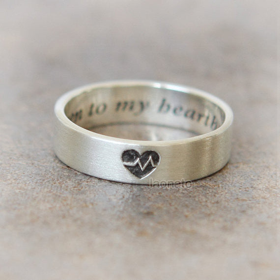 Personalized Heartbeat band Ring in sterling silver / initials, date, words