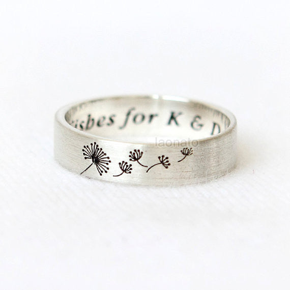 Personalized Dandelion Ring in sterling silver / initials, date, words
