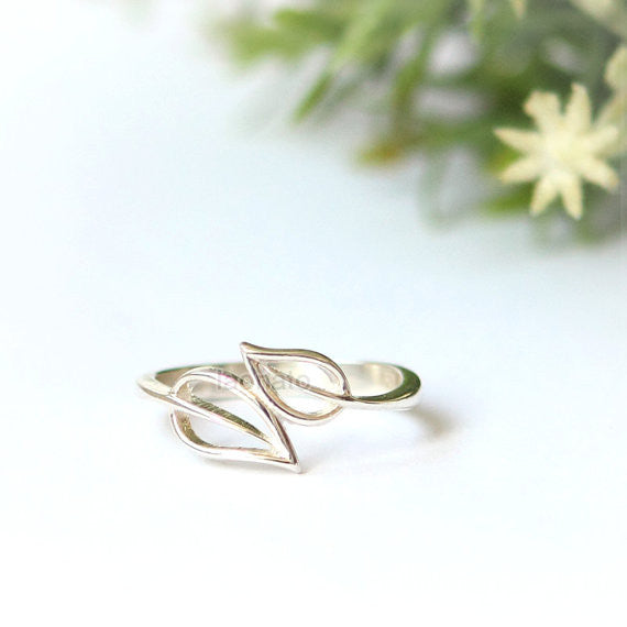 Double leaf ring in sterling silver, personalized ring