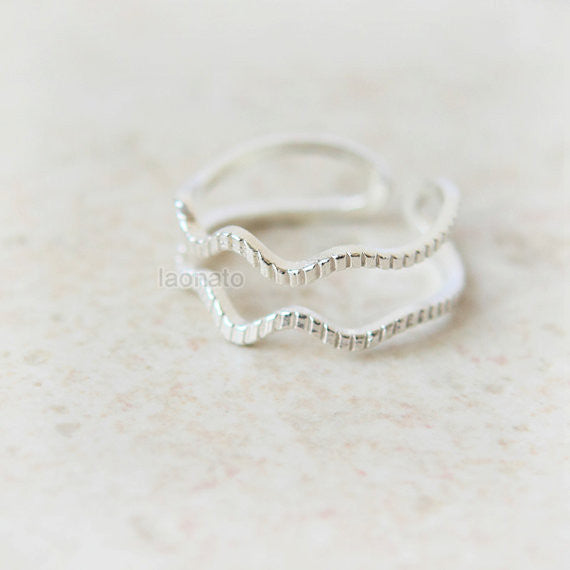 Double Wave ring 925 sterling silver