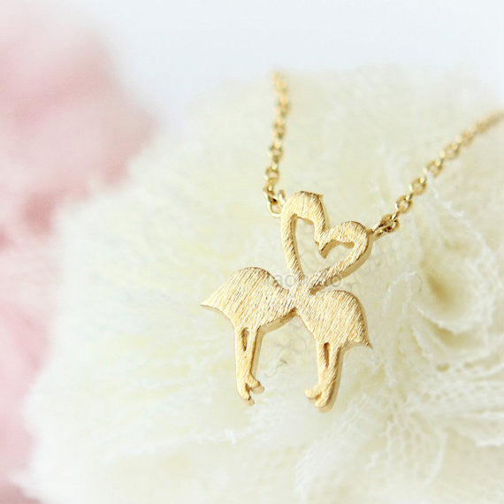 Heart Flamingos Necklace