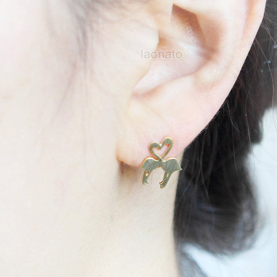 Heart Flamingos Earrings