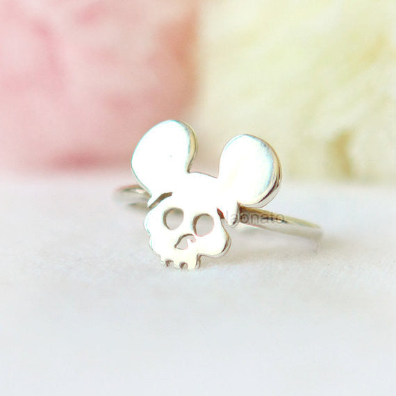 Mouse Sugar Skull Ring in 925 sterling silver