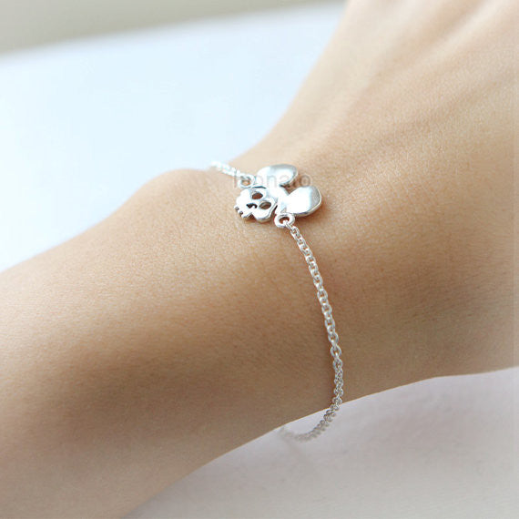 Mouse Sugar Skull Bracelet in 925 sterling silver