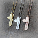 Heart and Love you more Bar Necklace