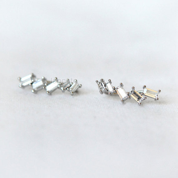 Tapered Baguette CZ Ear Climber