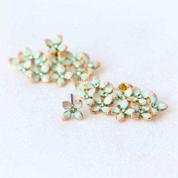 Floral Bouquet Earrings-Mint