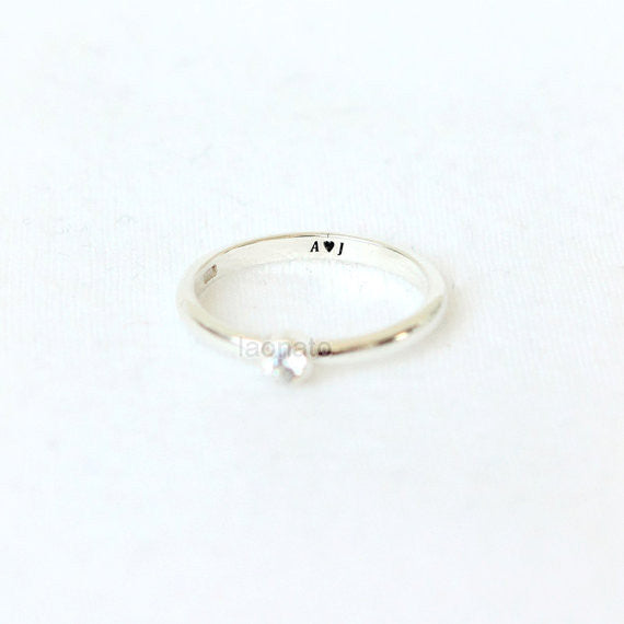 Personalized Bezel Setting ring in sterling silver, Couple Rings--Custom Personalized engraving Ring