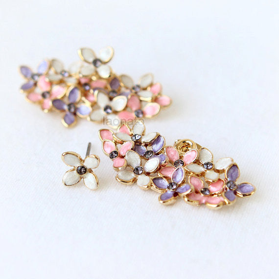 Floral Bouquet Earrings-Pink and Violet