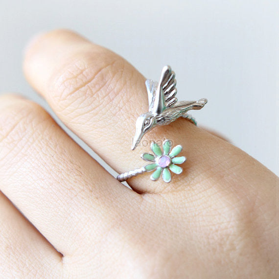 Hummingbird and flower Ring