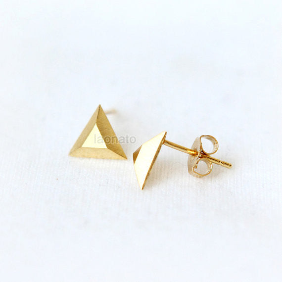 Tiny Faceted Geometric earrings / square, triangle, hexagon earrings