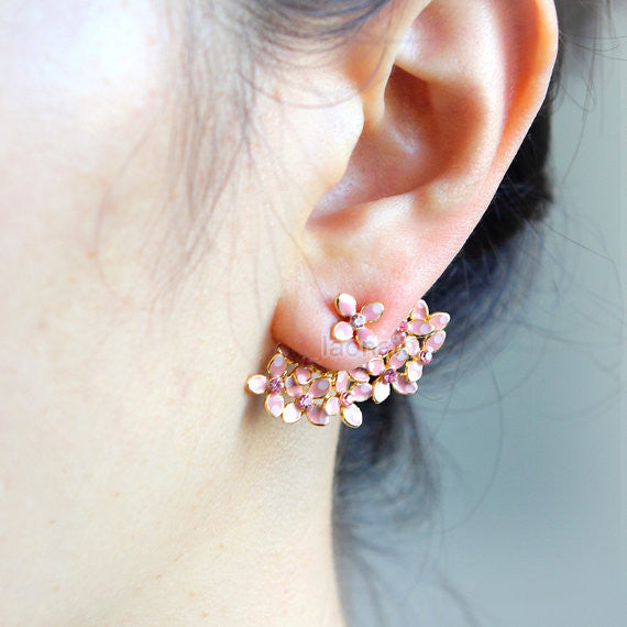 Floral Bouquet Earrings-Pink