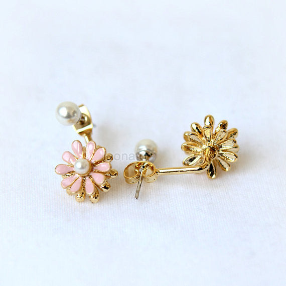 Flower Front Back Earrings-pink