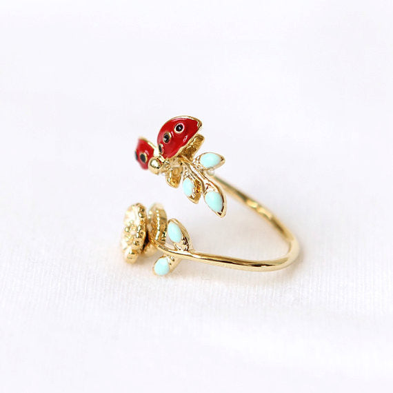 LadyBug and Flower Ring