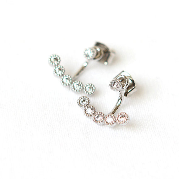 Tiny Crystals Front and Back earrings