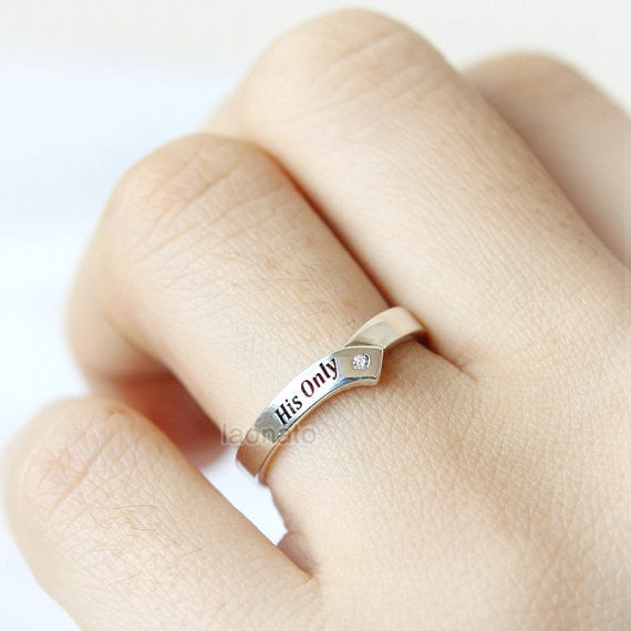 Personalized Chevron ring in sterling silver, Couple Rings--Custom engraving Ring, His only, Her one