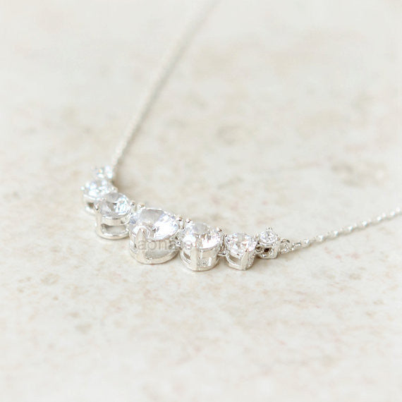5 Crystals Necklace in 925 sterling silver
