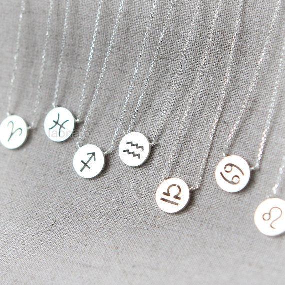 Zodiac Sign Necklace in 925 sterling silver / Constellation Signs necklace