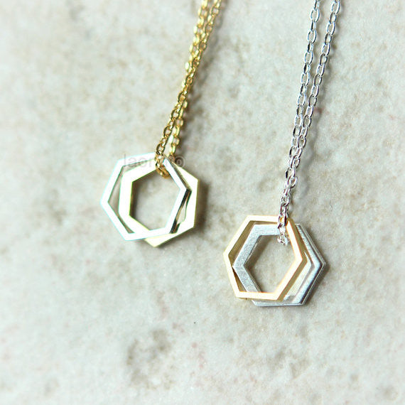 Two Open Hexagon Necklace
