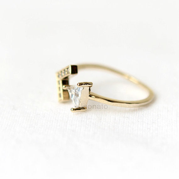 CZ Triangle and Arrow Ring