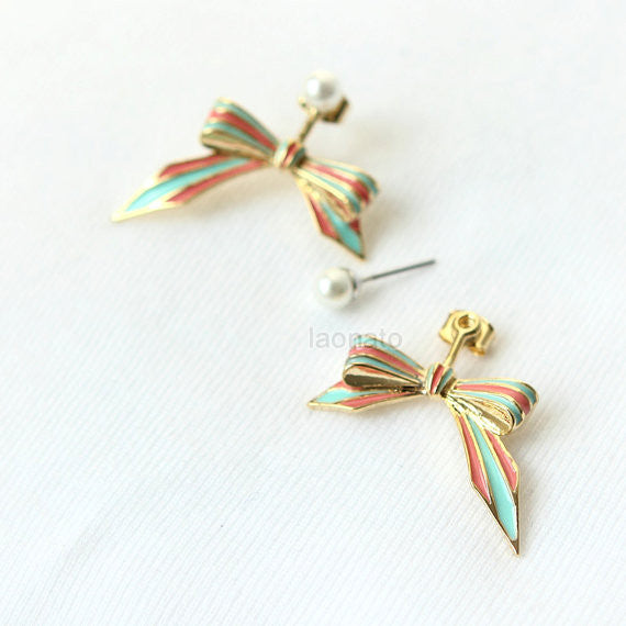 Mint and Peach Bow Front Back Earrings