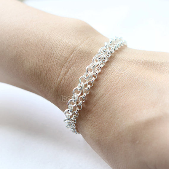 925 sterling silver Simple Chain Bracelet