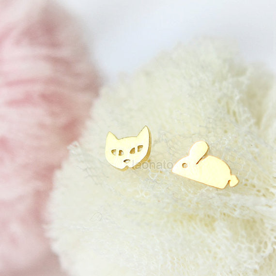Tiny Cat and Mouse Earrings