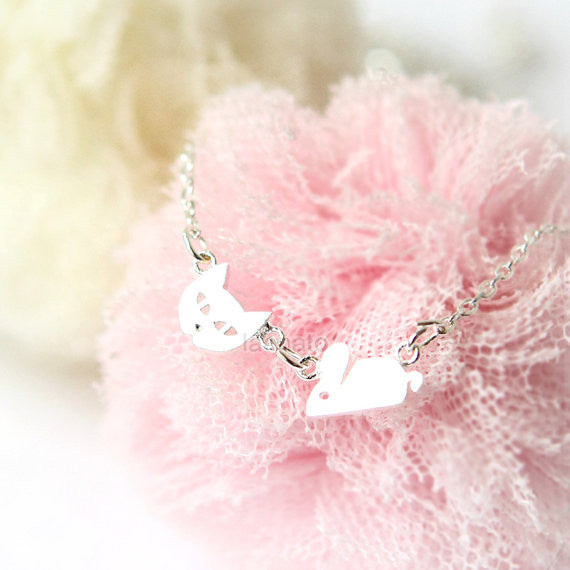 Tiny Cat and Mouse Necklace