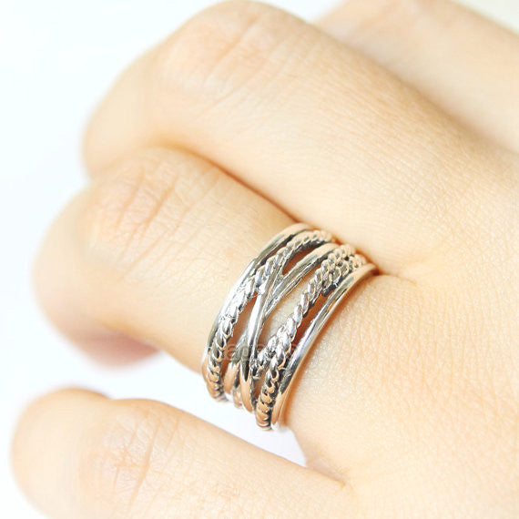 RC004 Multi Stacking Ring in 925 sterling silver