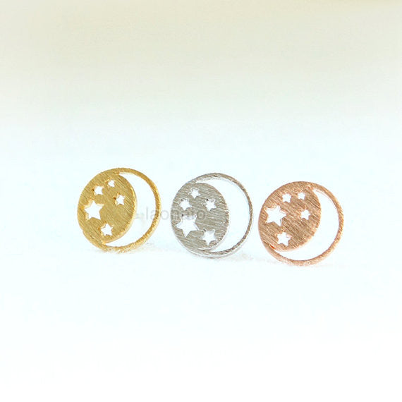No.3 Crescent moon and tiny star Earrings