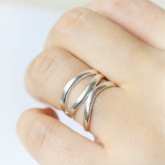 Wave Band Ring in 925 sterling silver
