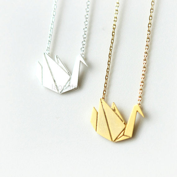 Origami Swan Necklace