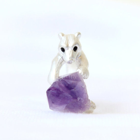 Bear and Raw Crystal Ring in silver