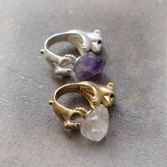 Bear and Raw Crystal Ring in gold