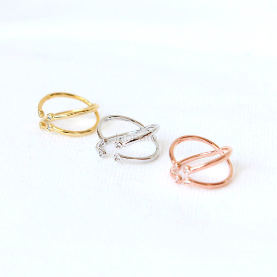 Criss Cross Knuckle ring
