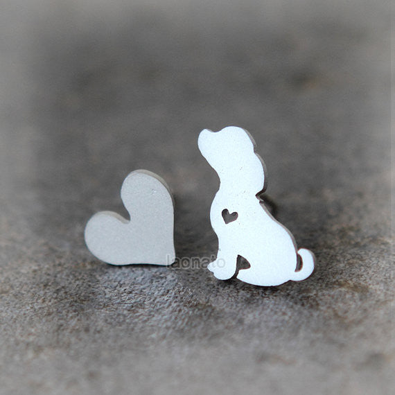 Puppy and Heart Earrings