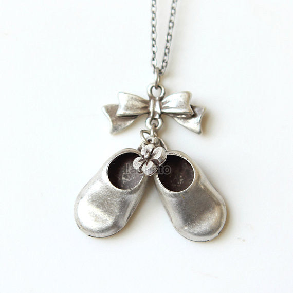 Bow and Little Girl Shoes Necklace