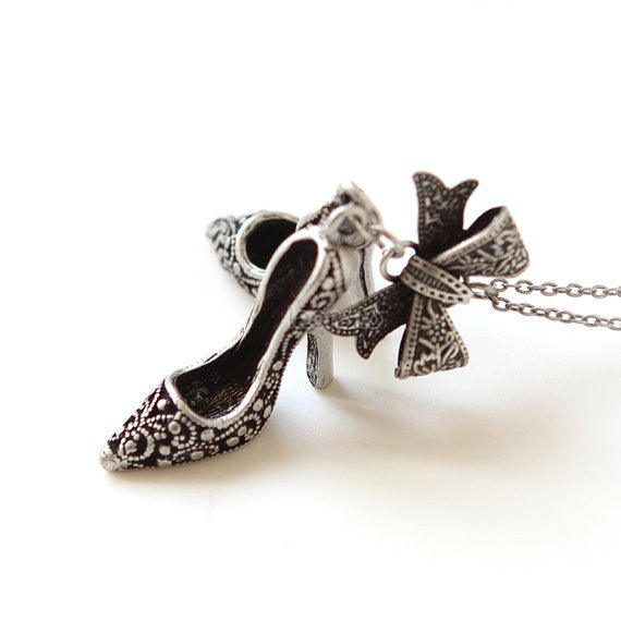 Bow and High Heel Necklace