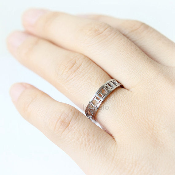 Stainless Roman numeral Ring