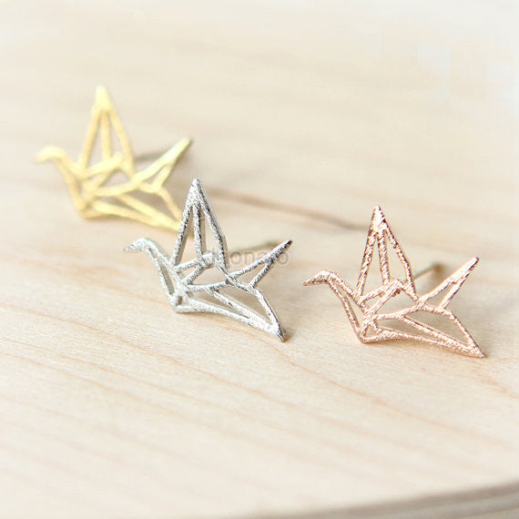 Sterling Silver Origami Crane Bird Stud Earrings – SilverCloseOut | 570x570