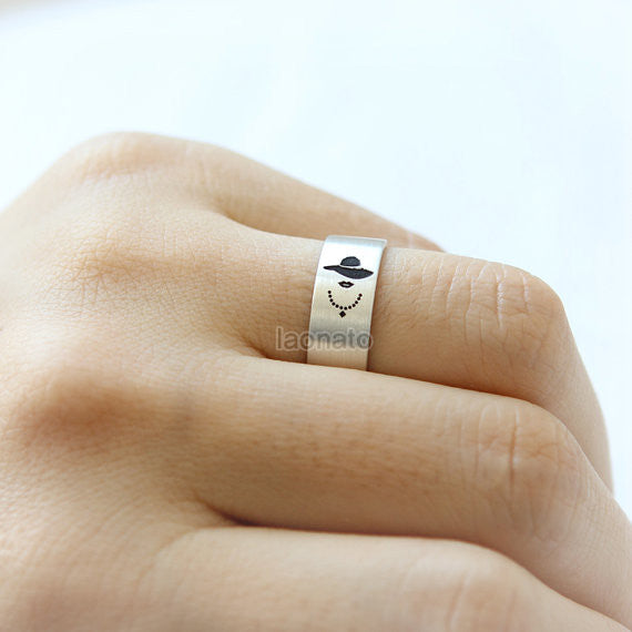 Gentleman and Lady Ring in sterling silver, 7mm band ring /Couple Rings, Custom Personalized Rings, Mr. and Mrs.