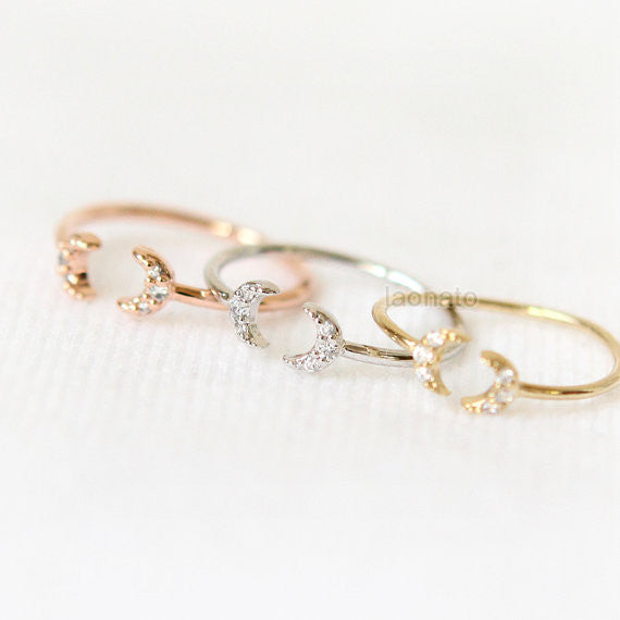Tiny CZ Crescent moon Knuckle Ring