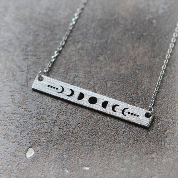 Moon Phases Bar Necklace