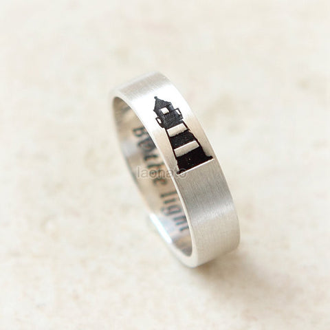 Personalized Horizontal Lighthouse Ring in 925 sterling silver/7 mm band ring, initials, date, words