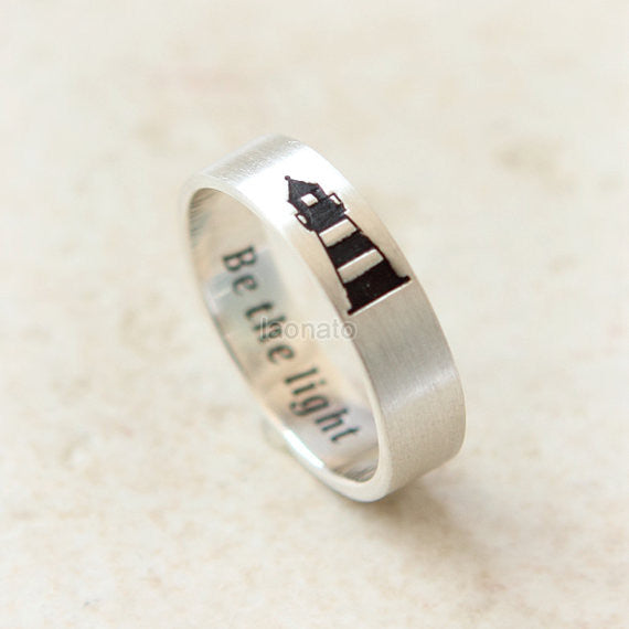 Personalized Vertical Lighthouse Ring in 925 sterling silver/ initials, date, words