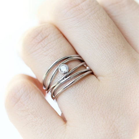 Leather Circle Double Line Ring Mint